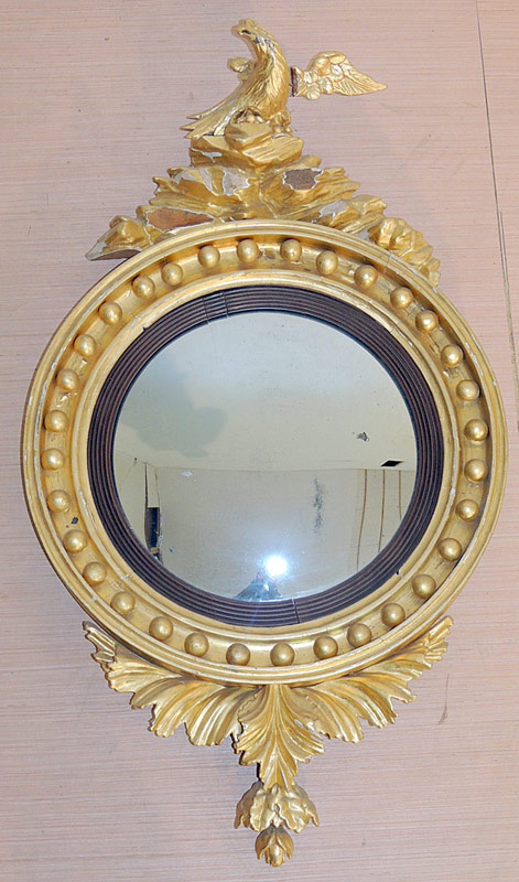 19th C. Regency Giltwood Convex Mirror with eagle crest. $3,938