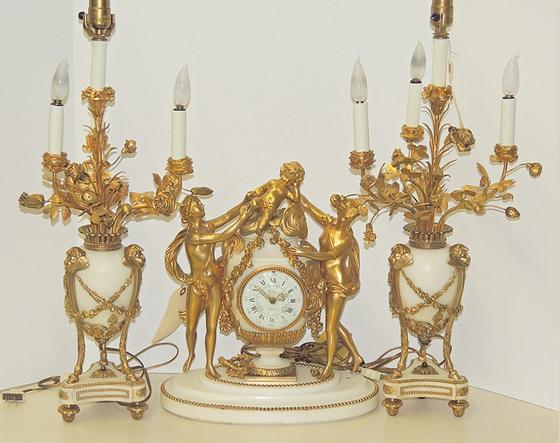 Louis XVI-Style 3-pc Clock Garniture Set in white marble and gilt bronze. $3,540