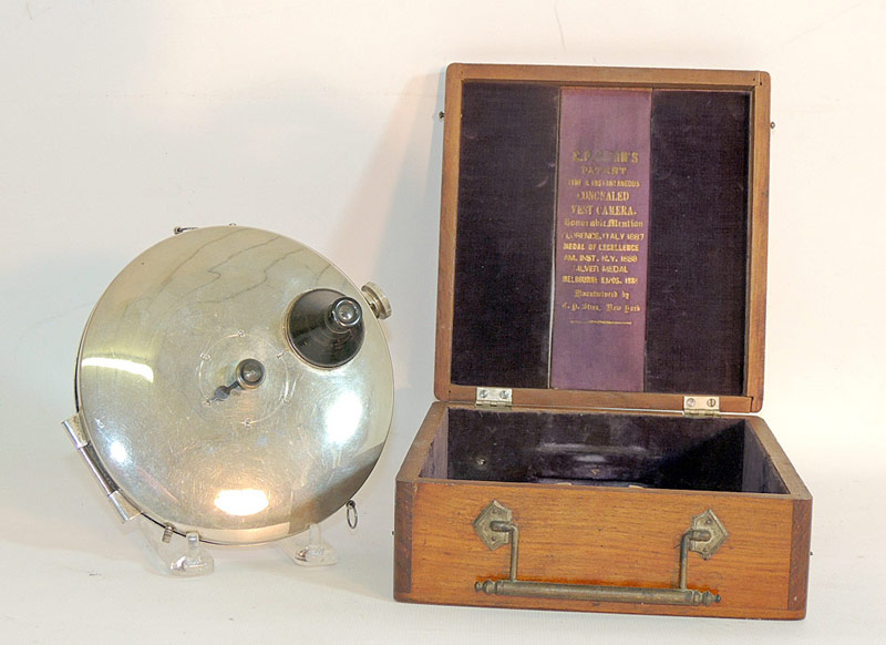 C.P. Stirn Vest Pocket Spy Camera, in mahogany case. $3,068