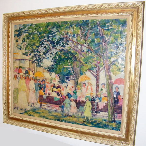 Nancy Mabin Ferguson (Pennsylvania, 1872-1967) Oil/canvas, crowd in park scene. $70,150