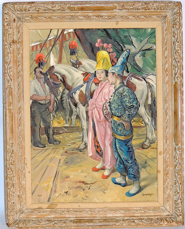 Laura Knight. Oil/Canvas, Oriental Clowns. $24,200