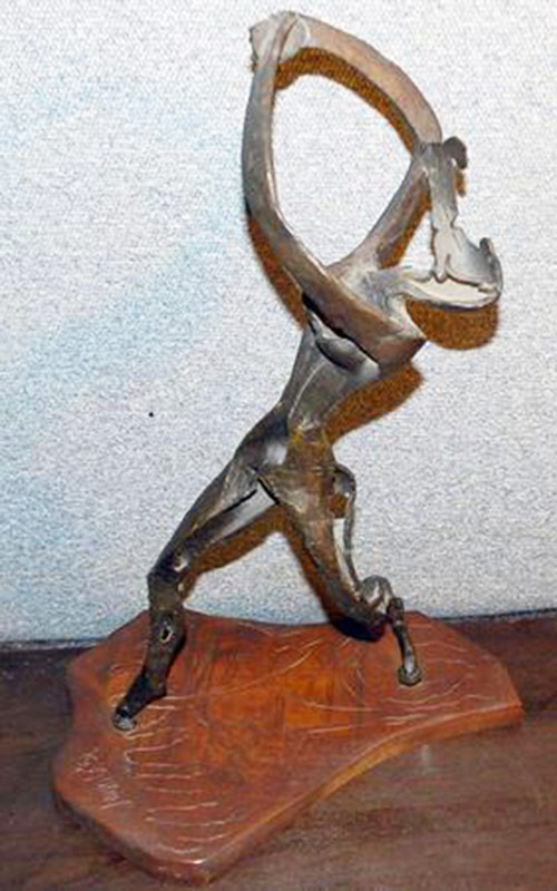 Leon Underwood bronze abstract sculpture of Salome, mounted on wooden base. $11,800