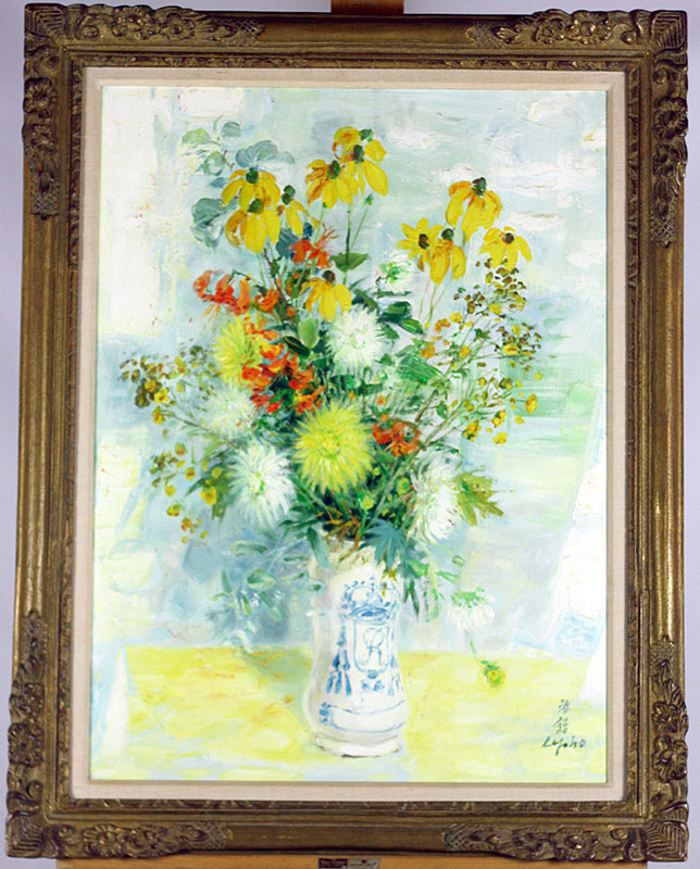 Le Pho oil on canvas, floral still life. $14,520