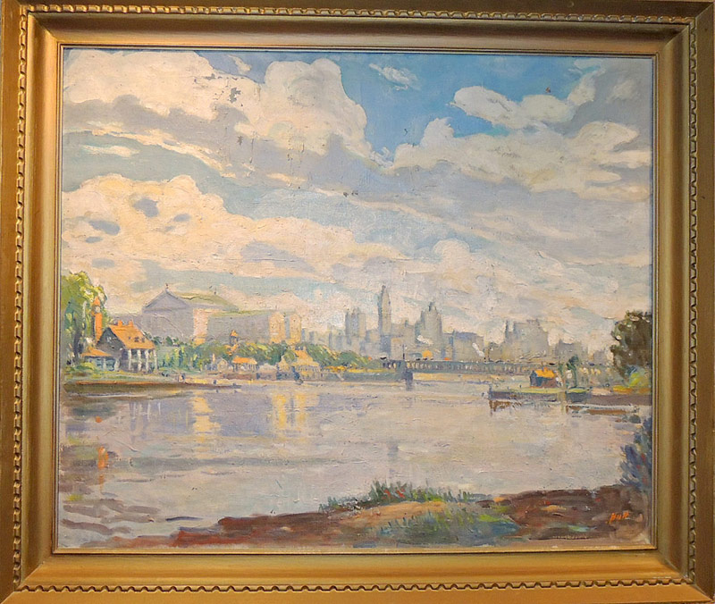 John Dull Oil/Canvas, Philadelphia Landscape. $3,872