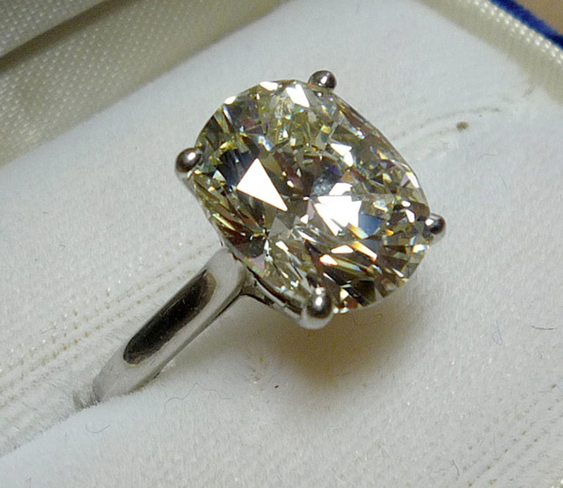 6.00ct fancy, pale-yellow diamond solitaire ring set in platinum. $46,020