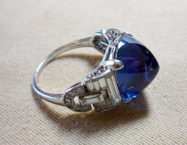 Diamond and sapphire ring set in platinum. $42,550