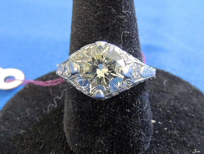 Diamond ring with platinum setting and 14K white gold band. Apx. 2.85ct TWD. $10,030