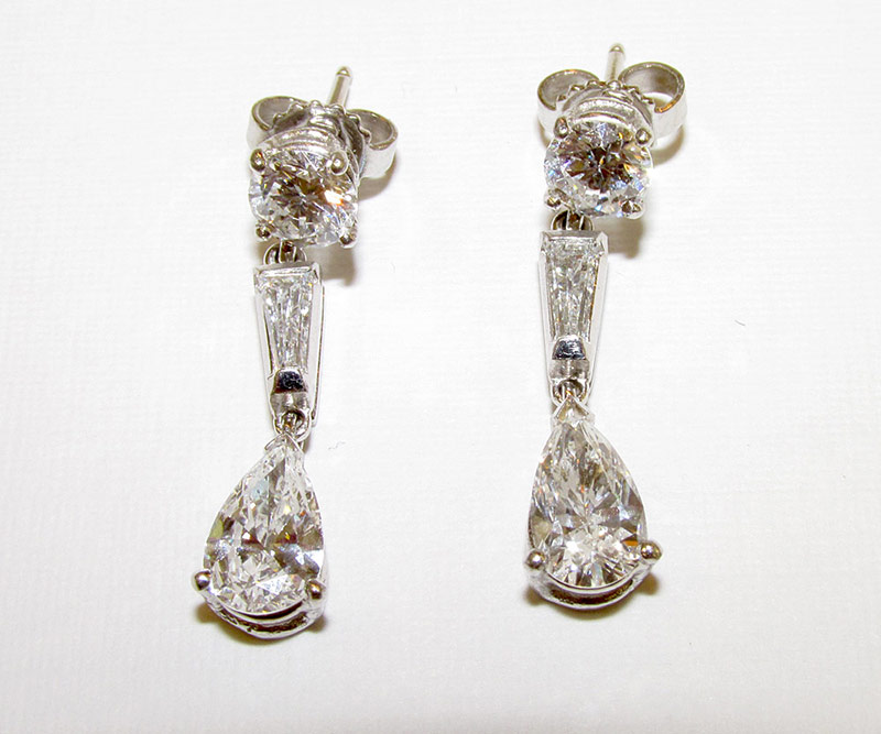 Pair of Diamond Stud Earrings with detachable Diamond Drop Jackets, apx. 2.66ct TWD. $8,850.00