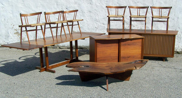 A fine collection of George Nakashima 20th C. Furnishings. Over $70,000 total