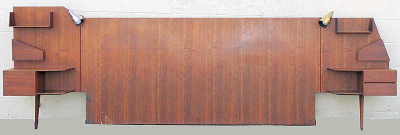 Circa 1950s Gio Ponti Walnut King-size Headboard by Singer & Sons, Italy. $7,080