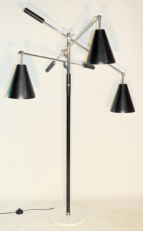 Italian Triennale adjustable-arm Floor Lamp on white marble base. $3,304