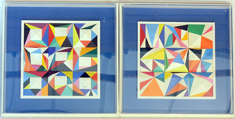 Yaacov Agam. Two signed & numbered Spacegraphs (1/99; 70/99). $3,388