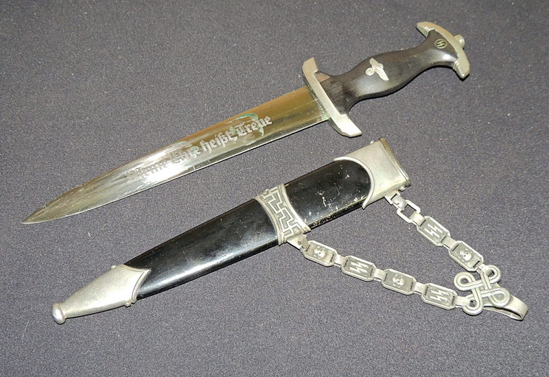 German WWII Chained SS Dagger with documentation. $17,250