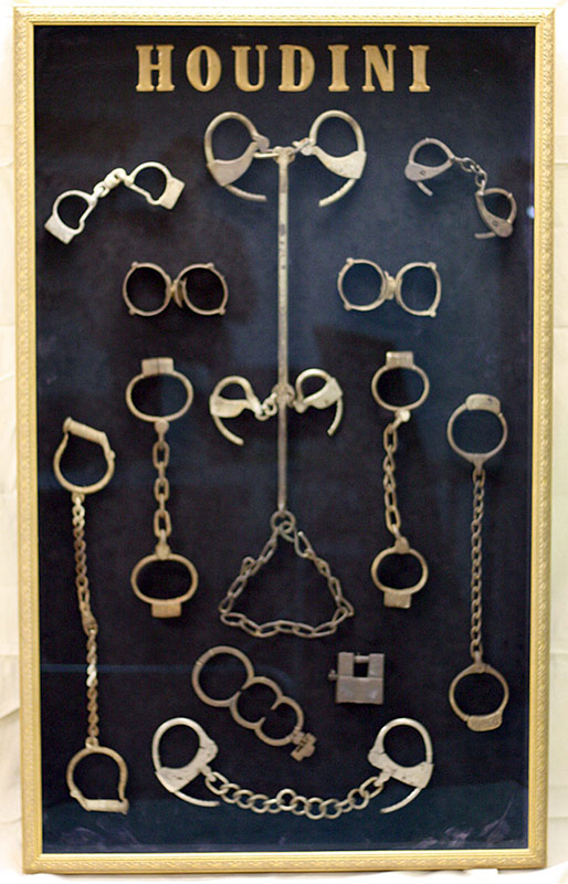 Archival display collection, Harry Houdini shackles and handcuffs. $33,880. The Pat Croce Collection