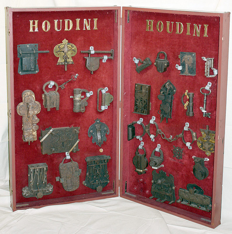 Display collection of antique castle locks and padlocks from Harry Houdini collection. $25,960. T