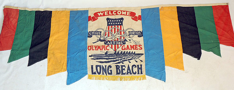 1932 Olympic Long Beach Welcome Banner with rowing icon. $1,452