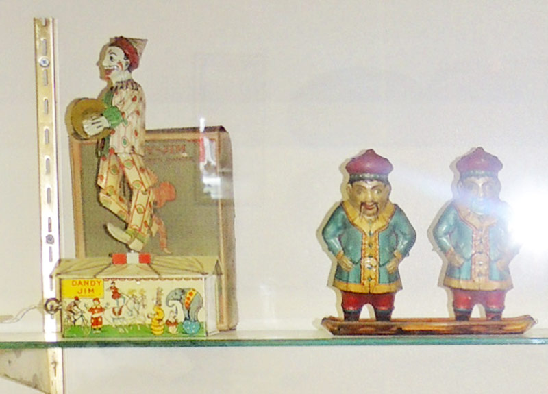 Unique tin litho Dandy Jim dancing clown & 2 German tin litho wind-up walker toys. $891 each