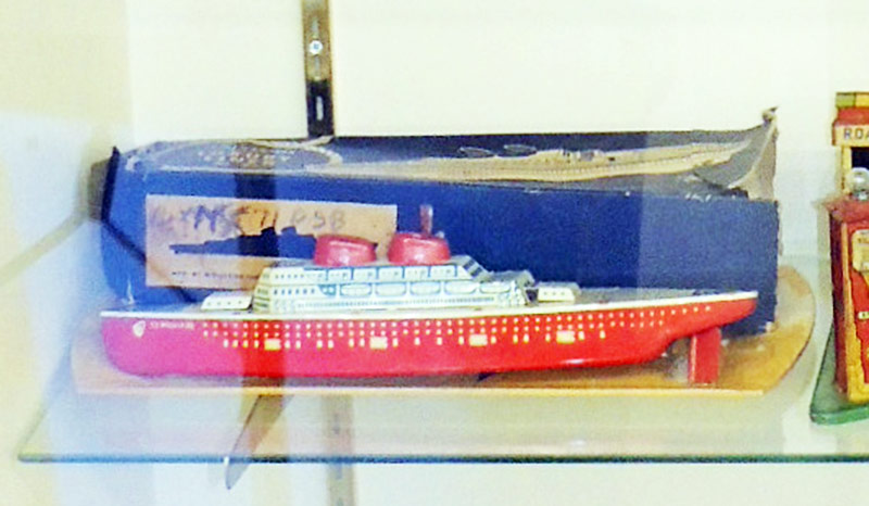 Walbert tin litho wind-up ferry boat with original box. $633