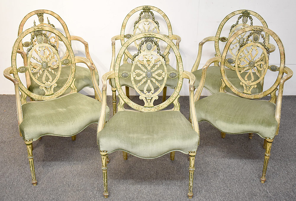 4. Six Painted Adams Dining Chairs. $8,260
