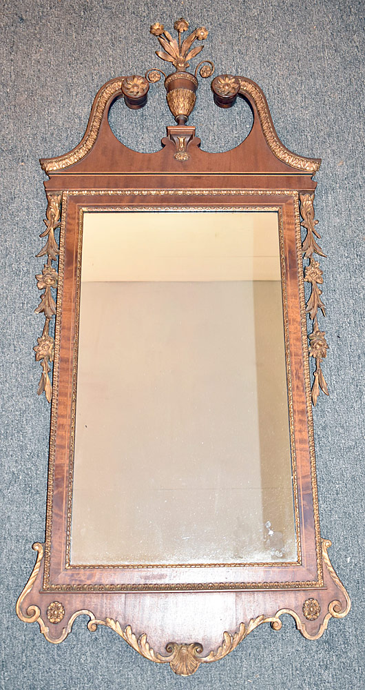 6. Federal Style Mahogany and Gilt Gesso Wall Mirror. $295
