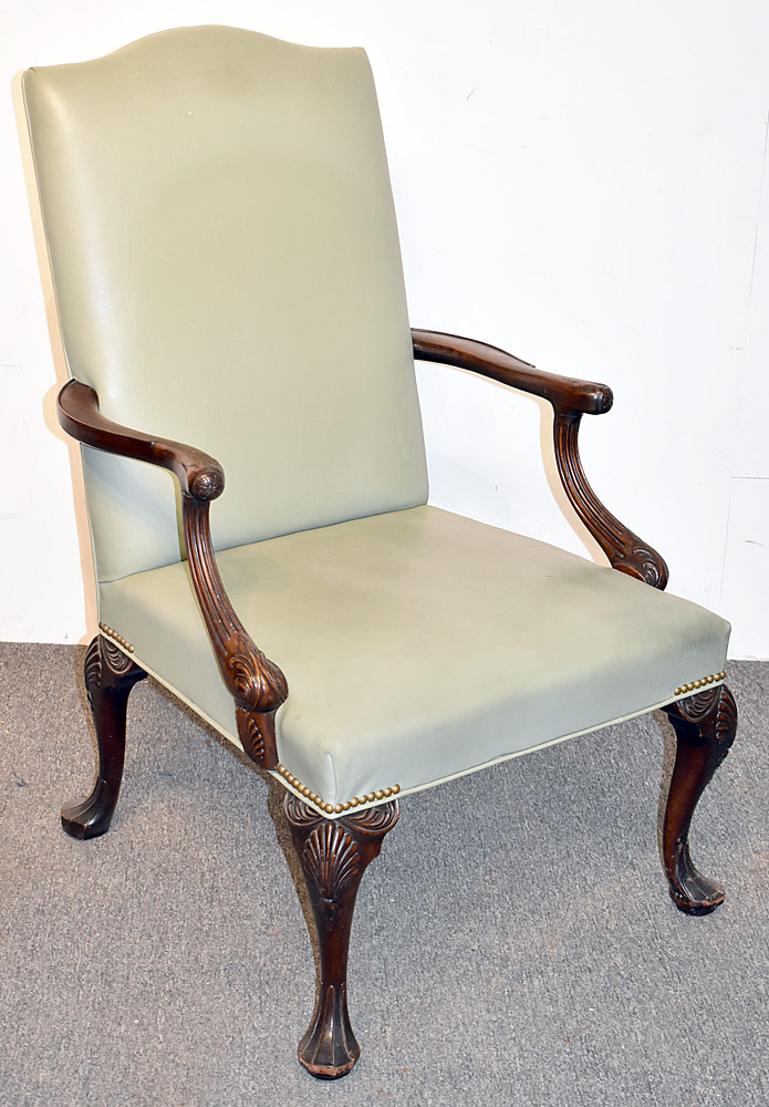 9. Georgian-style Carved Mahogany Library Chair. $184.50
