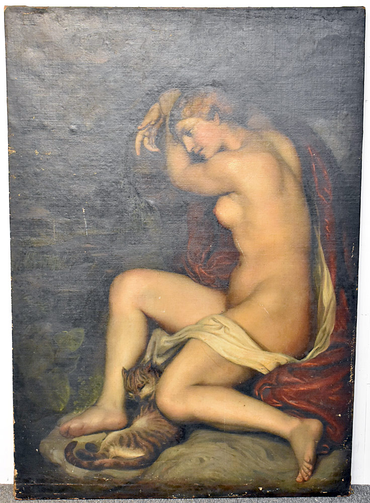 10. Antique Unsigned Oil on Canvas, Female Nude. $5,192