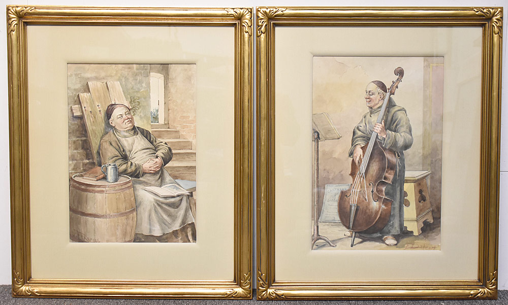 16. Two Continental School Watercolors, Monks. $177
