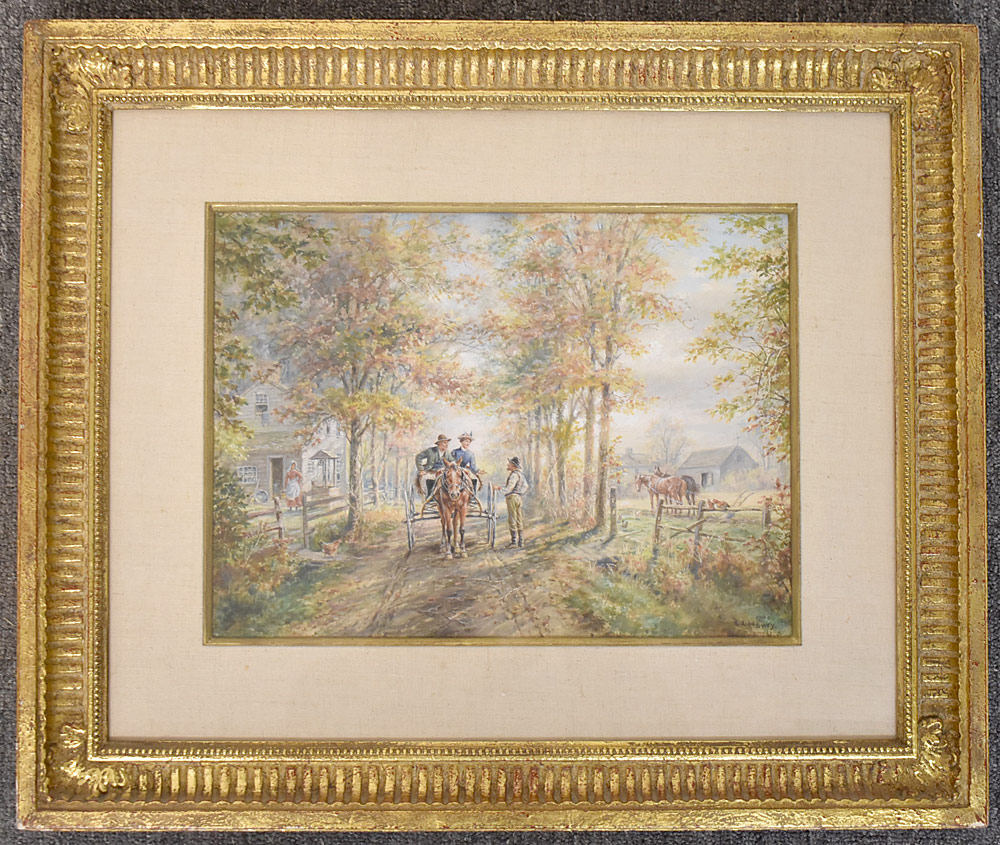 18. Edward Lamson Henry Watercolor, Neighbors. $399.75