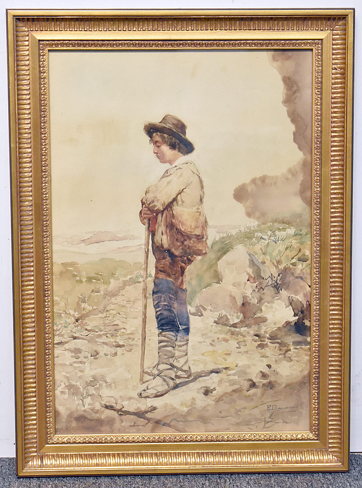 19. Pietro Benvenuti Watercolor, Peasant Man. $206.50