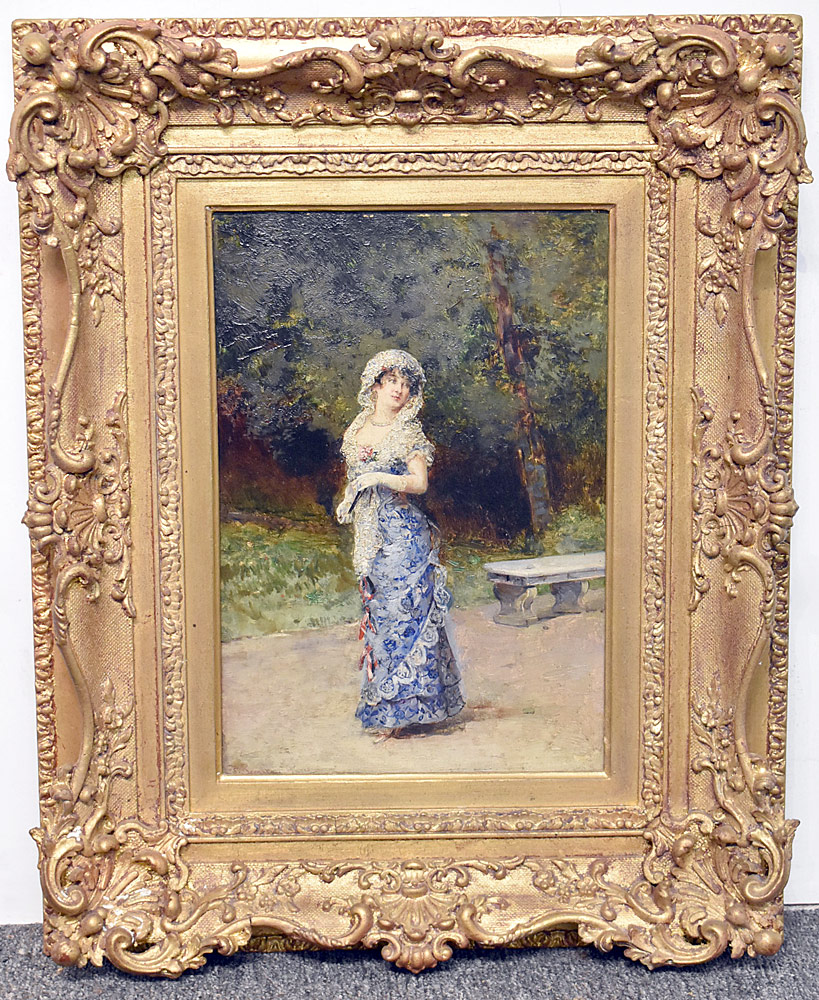 20. French School Oil on Panel, Portrait of a Woman. $767