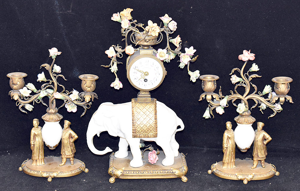 32. Louis XV-style Three-piece Clock Garniture. $1,353
