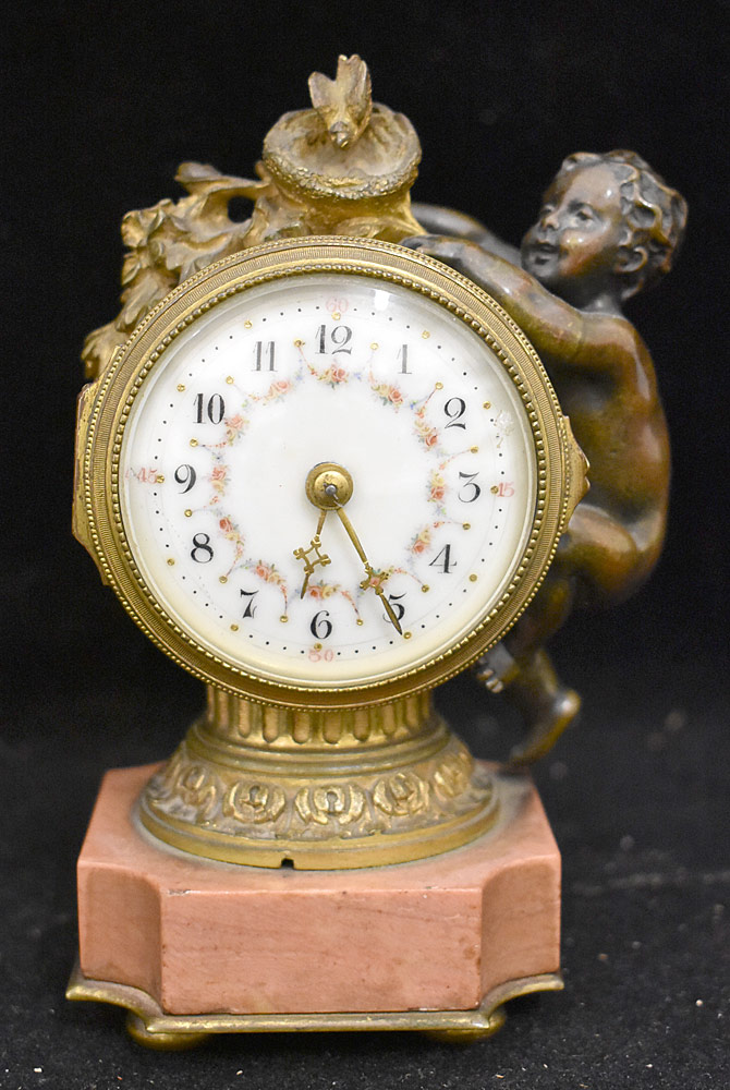 33. Patinated-Bronze Figural Shelf Clock. $265.50