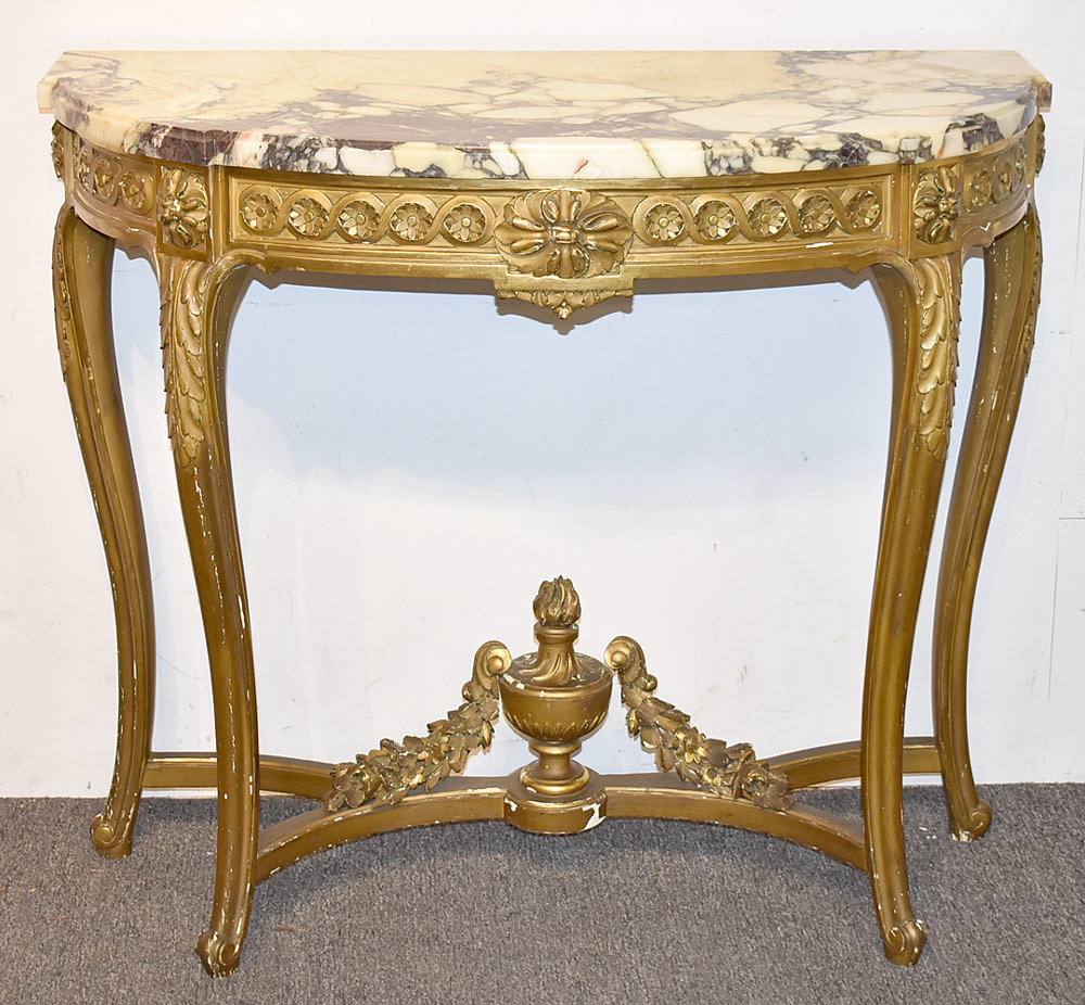 38. Louis XVI-style Giltwood Console. $584.25
