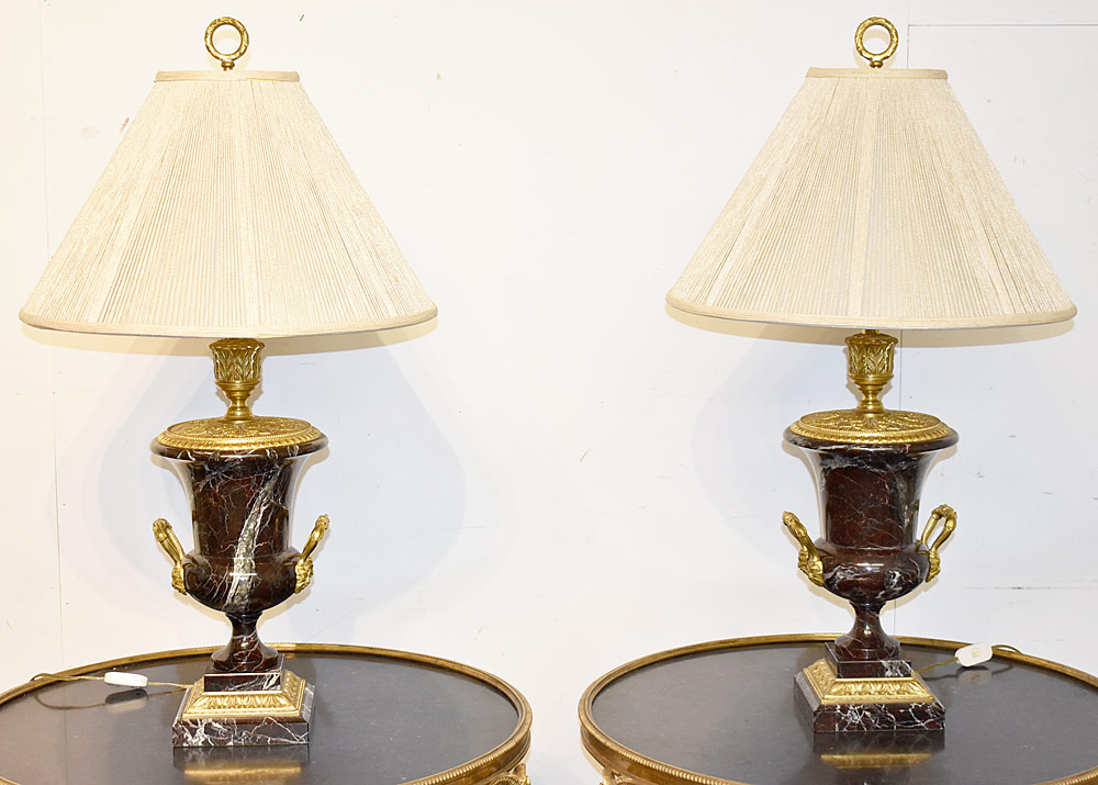 40. Pair of French Bronze and Marble Urn Lamps. $861