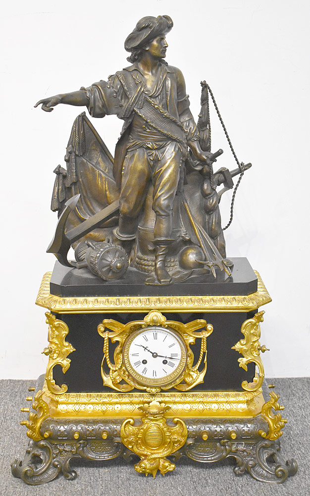 46. Monumental Bronze & Marble Mantel Clock w/Columbus. $2,242