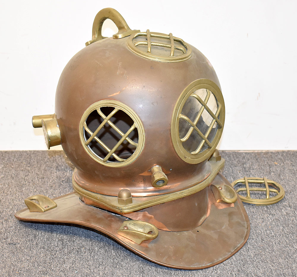 47. Copper and Brass Diving Helmet. $276.75