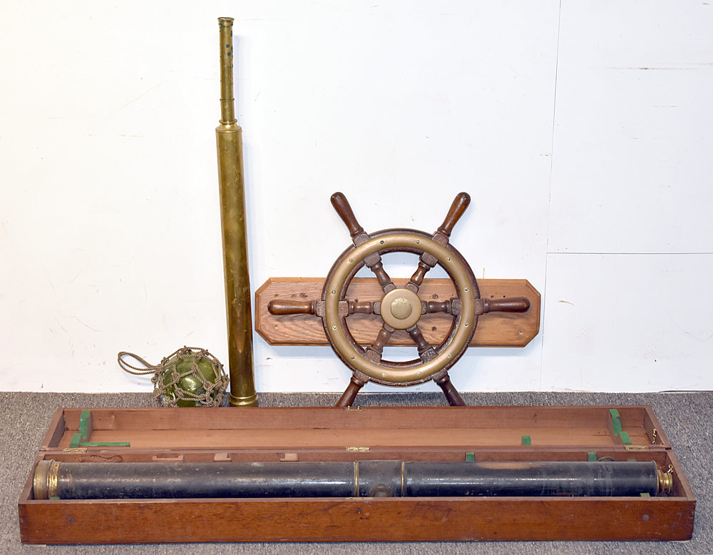 50. Four Nautical Items: Telescopes, Ship wheel; Float. $472