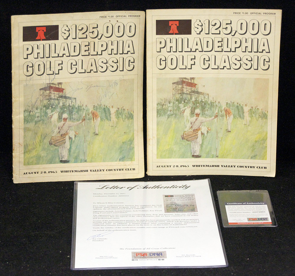 51. Two Signed Golf Legends Programs. $324.50