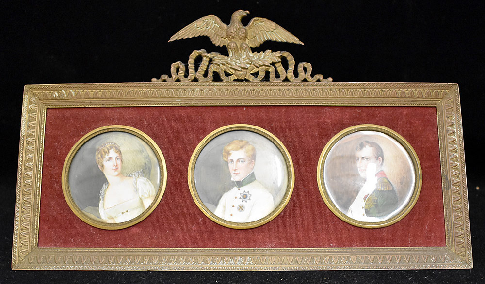 54. French Miniature Napoleonic Portrait Triptych. $369