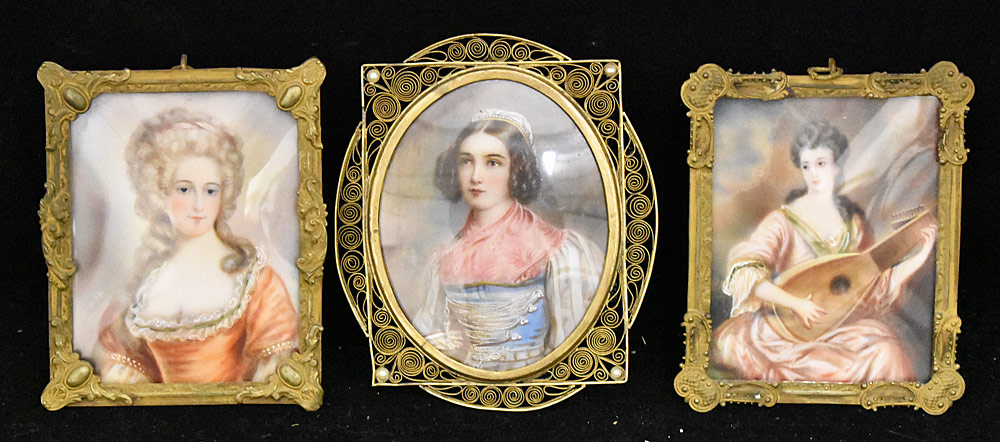 55. Three 19th Century Miniature Portraits of Women. $246