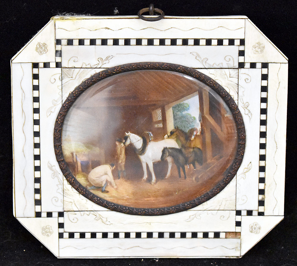 "61. Miniature Painting, Barn Scene Signed ""Morland\"". $184.50"