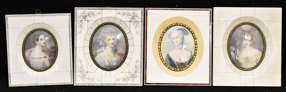 63. Four Miniature Portraits of Women. $215.25
