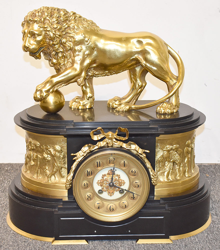 65. French Empire Gilt Bronze Lion Mantel Clock. $2,006