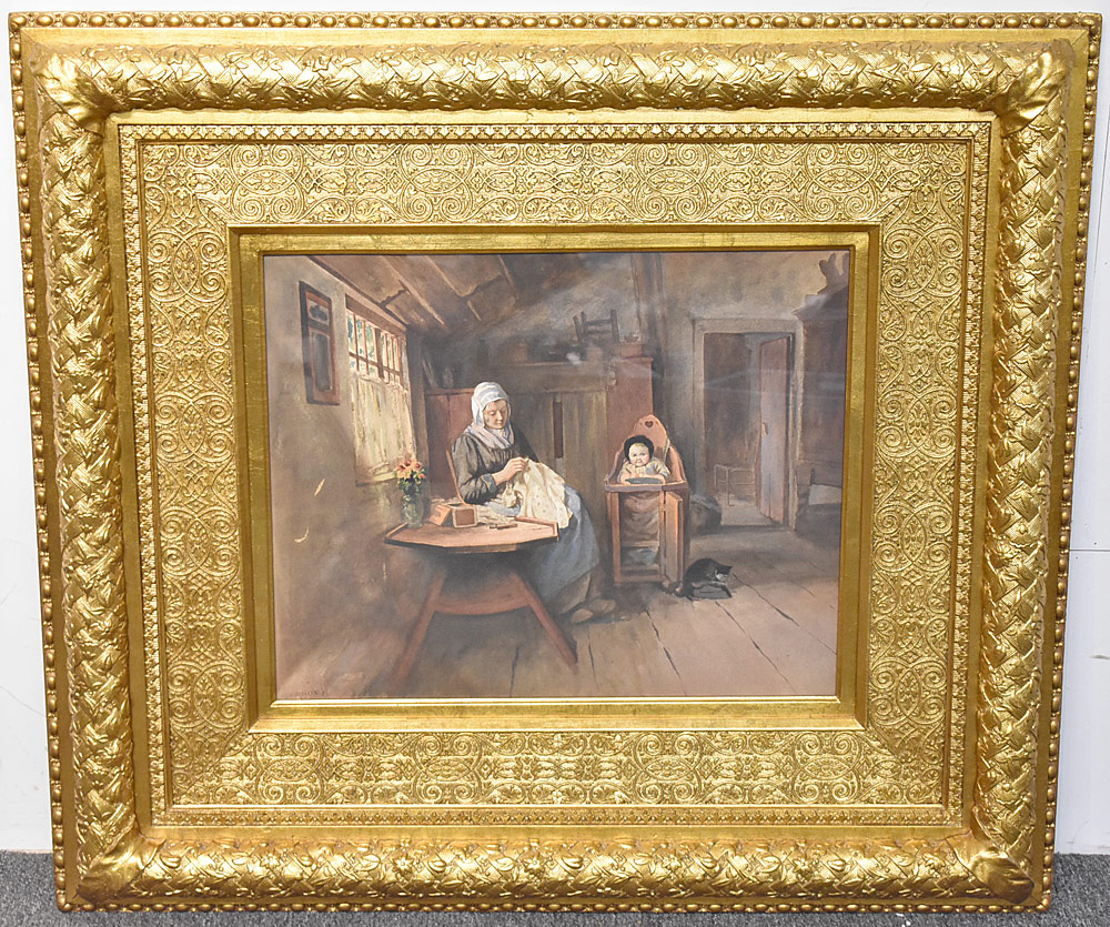 70. Meyerhoff Watercolor on Paper, Genre Scene. $442.50