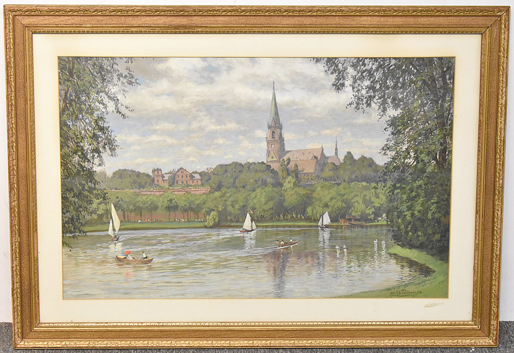 71. Karl Otto Pratorius Watercolor, Boating on Lake. $177