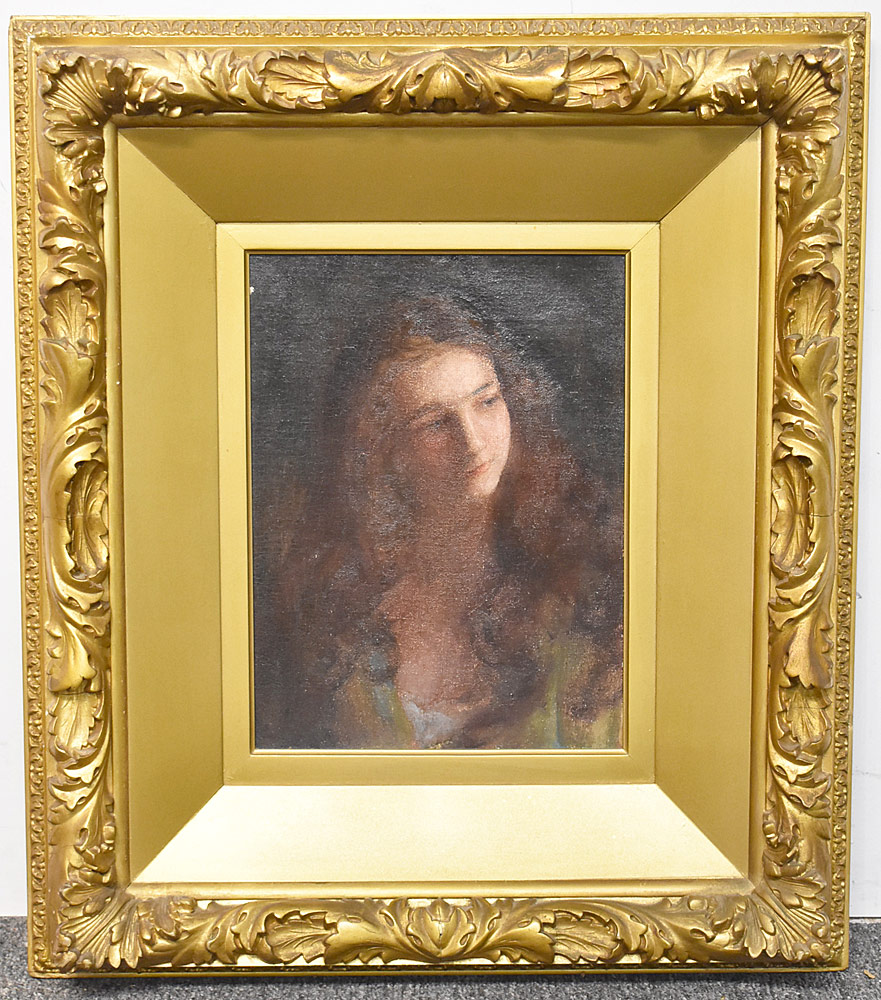 72. Charles Courtney Curran Oil on Canvas, The Head. $1,045.50