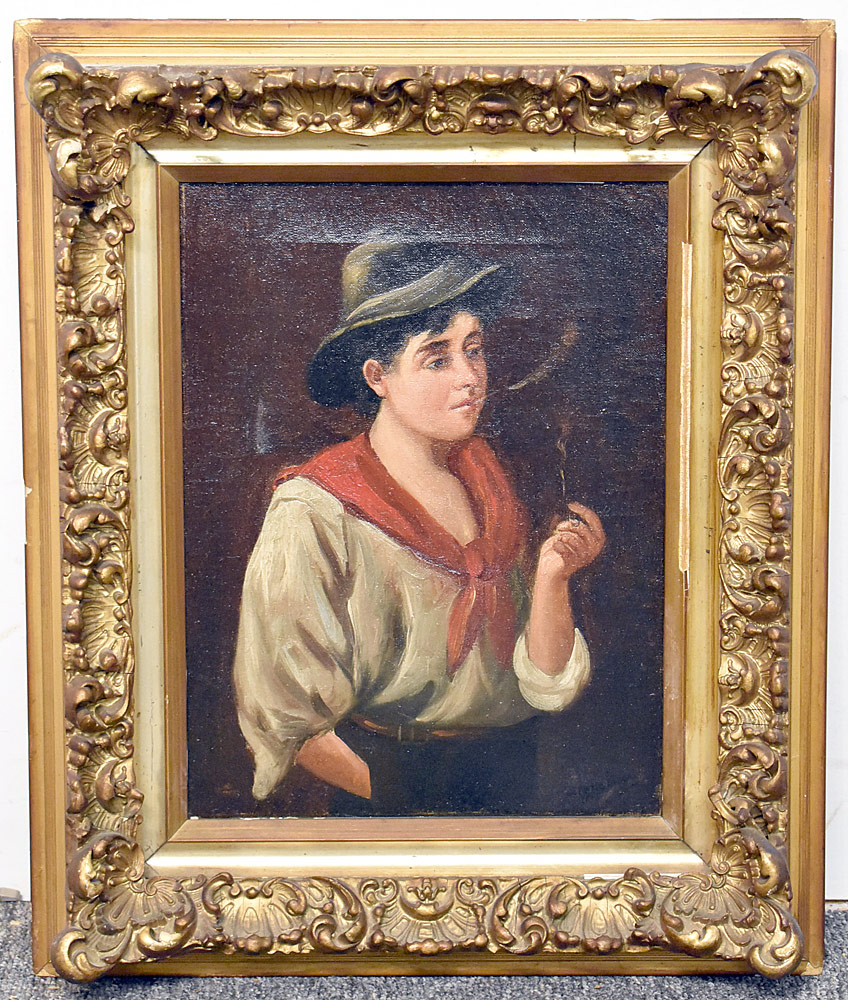 73. Signed Oil/Canvas, Genre Portrait of a Boy Smoking. $94.40