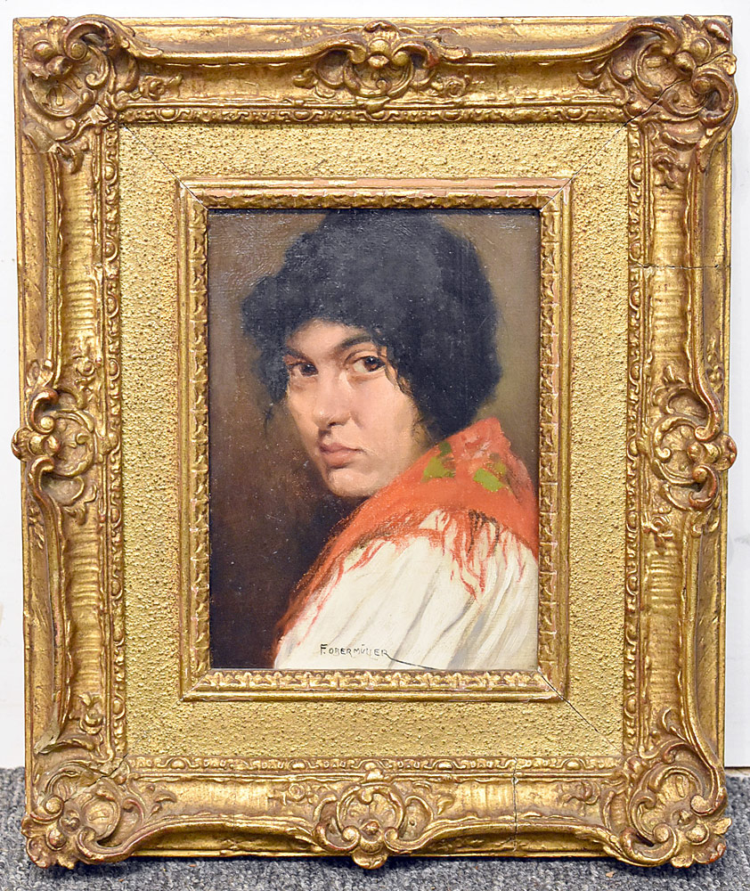 74. Franz Obermuller Oil on Panel, Gypsy Woman. $236