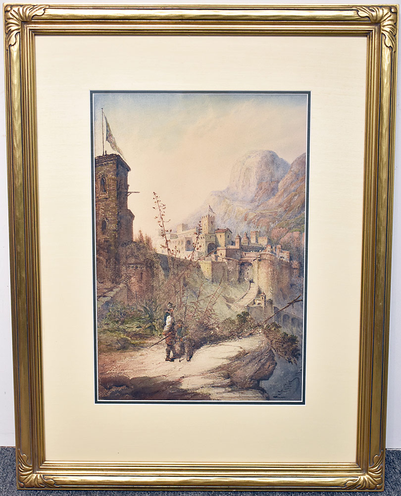 79. Giovanni Costa Watercolor, Mountain Castle. $307.50