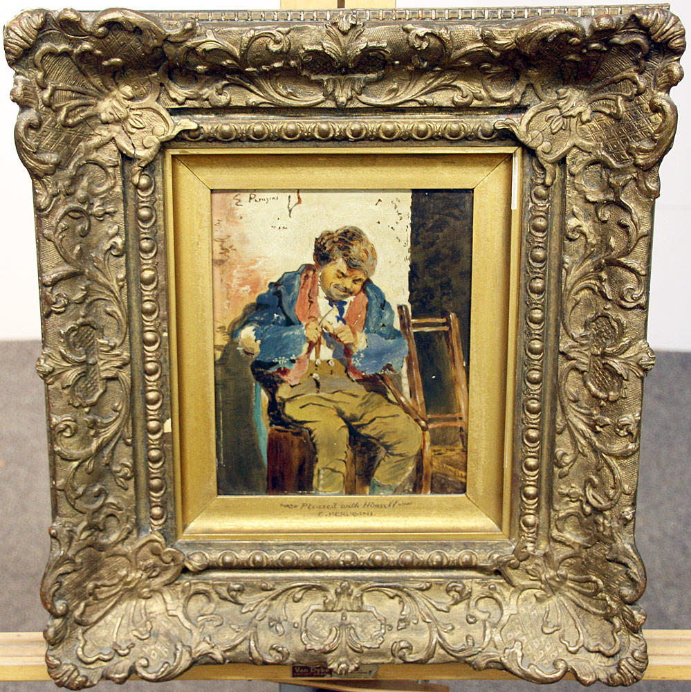 87. Charles Edward Perugini Oil/Panel, Portrait of Man. $236